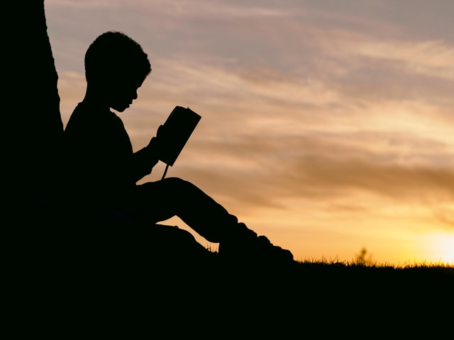 Silhouette of boy reading against sunset