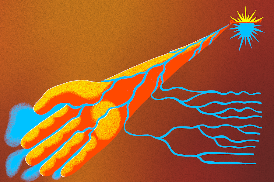 An illustration of an arm and then hand coming from a sun-like image in the top-right corner. The arm and hand is yellow and orange with thin blue rivers running through it.