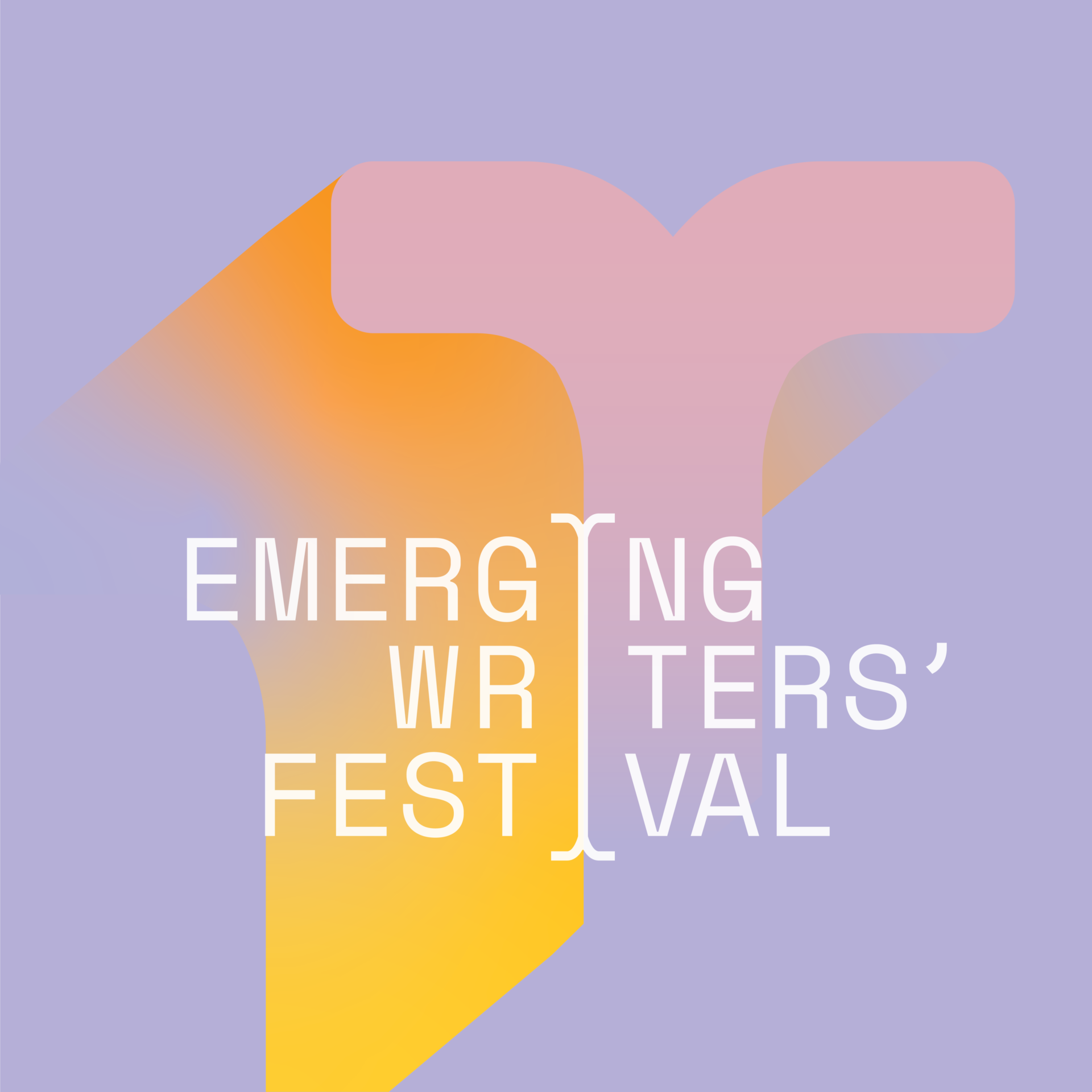 The Emerging Writers' Festival logo is overlaid over a dreamy stylised purple, pink, yellow and orange background