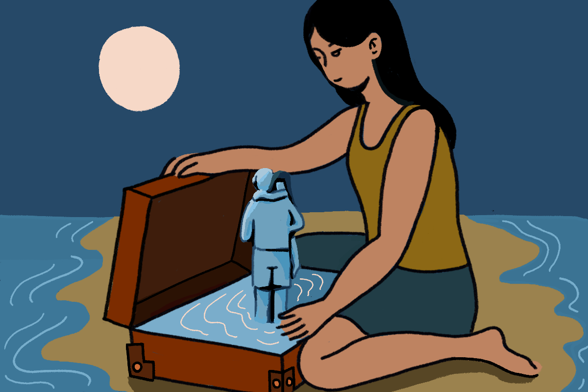 An illustration of a woman with long black hair, a greeny brown singlet and green skirt on. She is sitting on a brown surface in the middle of two bodies of water opening a brown suitcase. In the suitcase there are two people formed from water, hugging. There is a full moon in the left top corner.