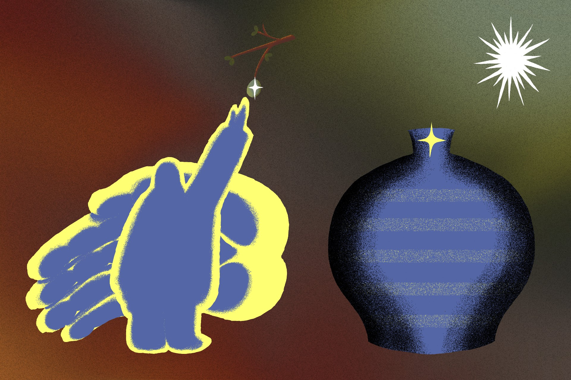 An illustration of a white sun-like image in the top-right. A blue vessel sits on the right bottom and on the left bottom sits a blue and yellow hand gently support a character person from behind. The person is reaching up to a branch.