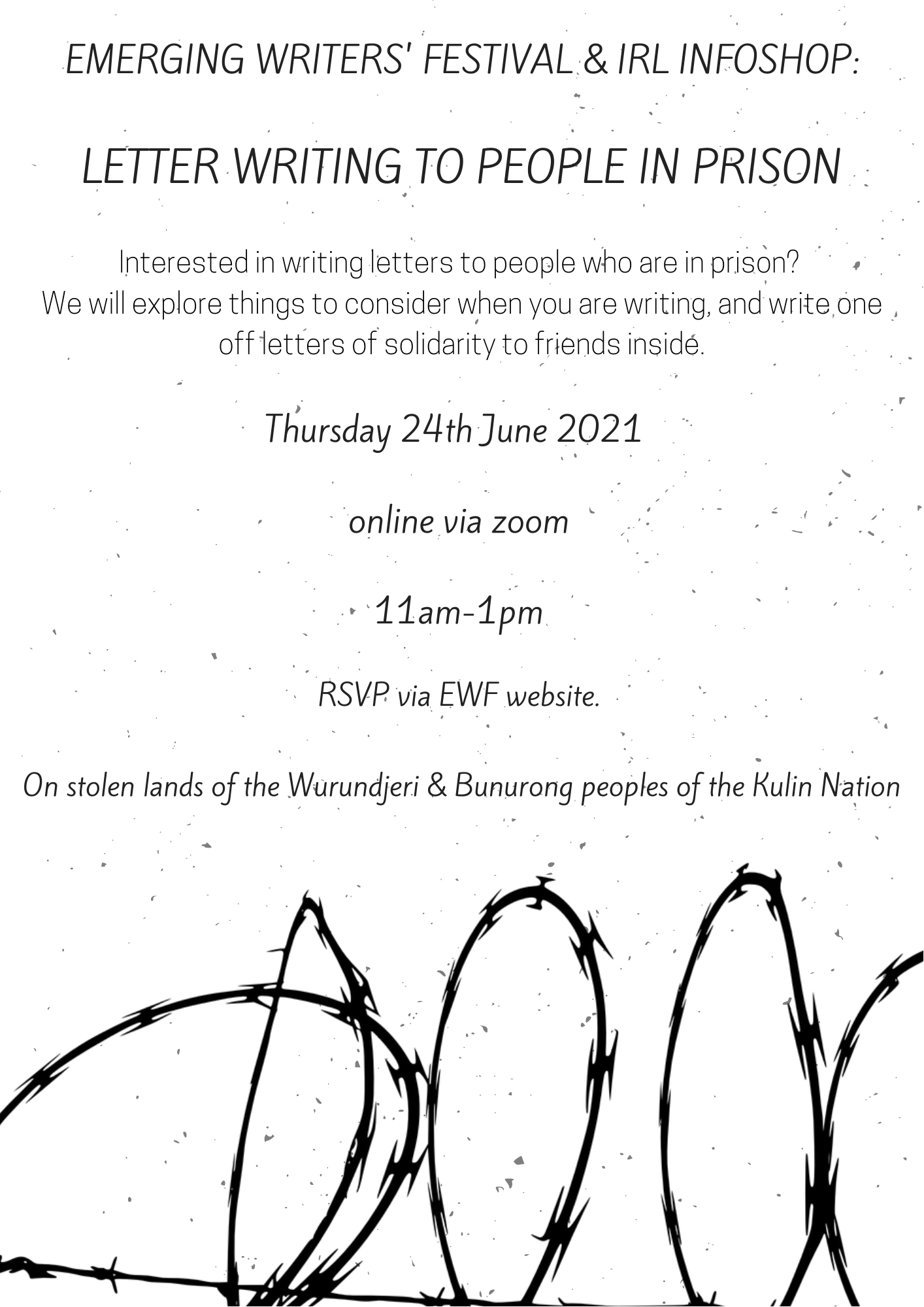 Letter Writing for People in Prison flyer